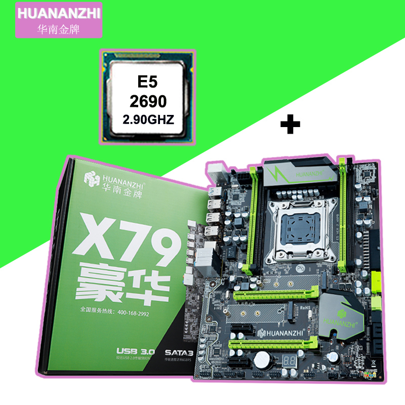 HUANAN ZHI X79 Motherboard Bundle With Dual M.2 NVMe SSD Slots Discount Motherboard With CPU Xeon E5 2690 C2 2 Years Warranty