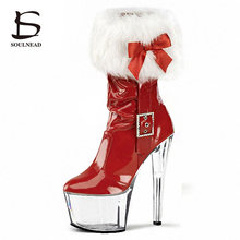 Dance-Shoes Pole High-Heels Women Ladies Strip 15cm Crystal Bow Christmas-Day Party Furry