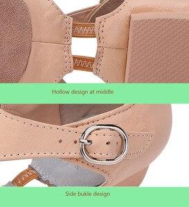 Image 5 - Zapato de Ballet elástico de cuero genuino para mujer, zapatos de baile de Jazz, sandalias de baile para profesores, calzado de punta