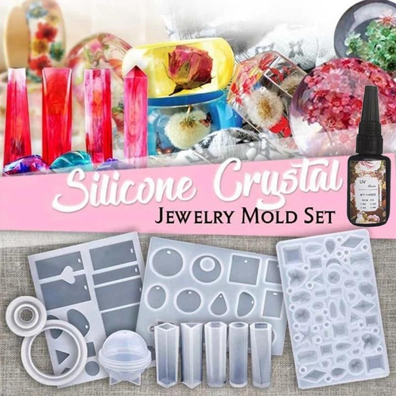 DIY Jewelry Handmade Bracelet Pendant Resin Casting Crystal Glue Jewellery Mold Set+Transparent Crystal Glue Personality Fashion