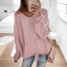Women Stitching V-neck Pullovers Blue Casual Sweaters Loose American European St