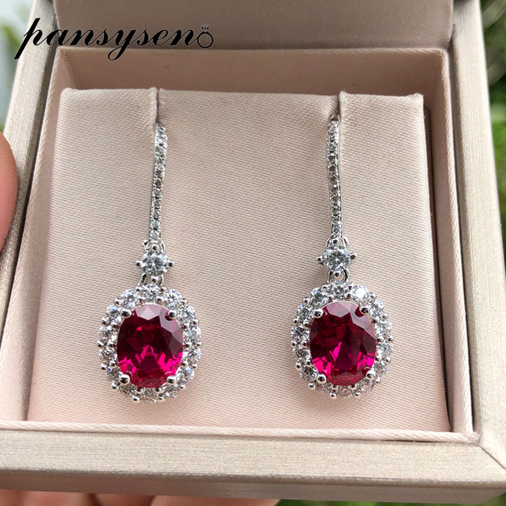PANSYSEN Natural Ruby Sapphire Gemstone Drop Earrings For Women Vintage Female 925 Sterling Silver Jewelry Earring Wedding Gifts