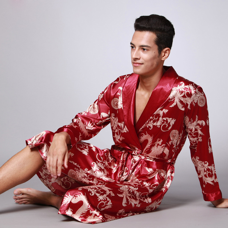 Wontive Long Sleeved Couple Nightgown Male Bathrobe Silk Pajamas  Nightwear Silk Set Bathrobes Robe Home Service Men Sexy Robe