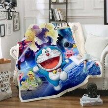Kids Anime Doraemon NobiNobita Kawaii 3D Blankets Fleece Cartoon Print Children Warm Bed Throw Blanket newborn bayby Blanket 017