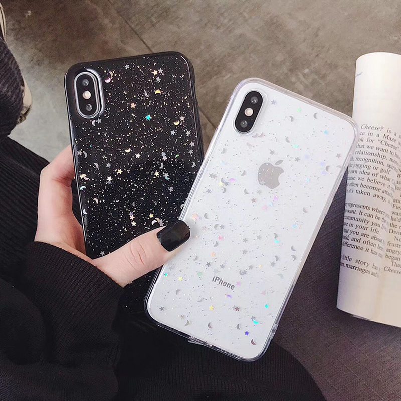 H0198e619ee0f4a76b647a28dfe3be4edO - GIMFUN Star Bling Glitter Phone Case for Iphone 11 Pro Max Clear Back Love Heart tpu Case Cover for Iphone Xr X 7 6 8 Plus 5s SE