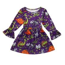 Long Flare Sleeve Baby Girl Halloween Dress Ghost/Pumpkin/Skull Dinosaur Children Fall Kid Costume Orange Dresses 1-5