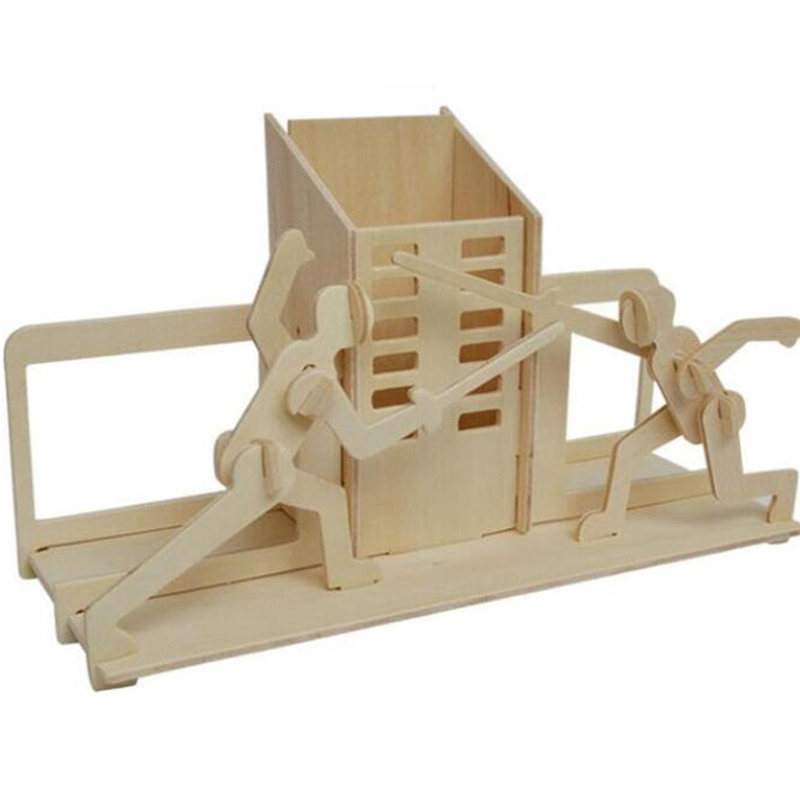 Handmade DIY Wooden Puzzle Fencing Pen Holder Toy Model 3D Wooden Puzzle Games Children Jigsaw Puzzle Popular Toy