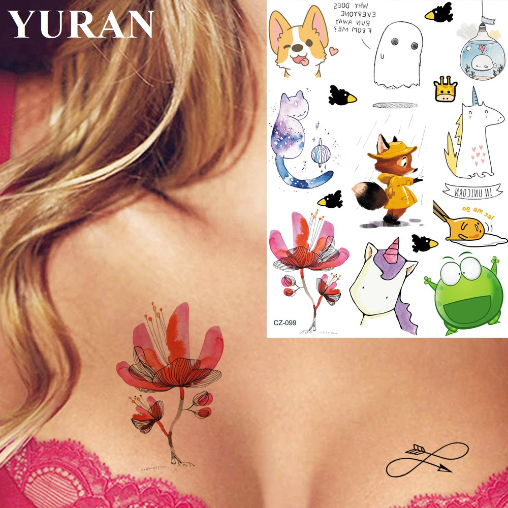 Watercolor Cute Fox Cartoon Cats Unicorn Tattoos Temporary For Children In Bulk Fake Tattoo Stickers Body Chest Hand Tatto Women