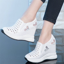 Summer Fashion Sneakers Women Genuine Leather Wedges High Heel Sports Gladiator Sandals Female Round Toe Platform Pumps Shoes summer pumps women genuine leather sports gladiator sandals ladies platform wedges high heel mary jane shoes female casual shoes