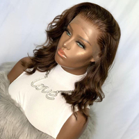 Free Part Chestnut Brown Pre Plucked 360 Lace Frontal Human Hair Wigs with Baby Hair Loose Wave Short Bob Full Lace Wigs Remy