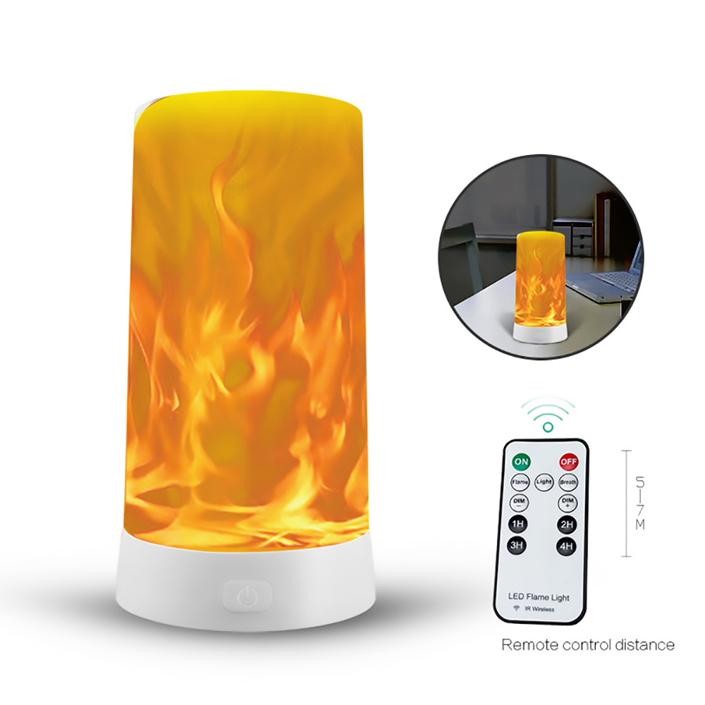 LED Flame Effect Lamp USB Portable Remote Control Night Light Emulation Fire Flickering Lamp Atmosphere Decoration Night Lights