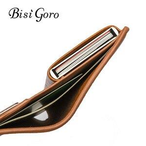 Image 1 - BISI GORO Mini portefeuille Anti vol, porte cartes intelligent RFID, étui à cartes unisexe Vintage, sac dargent solide, Dropshipping 2020