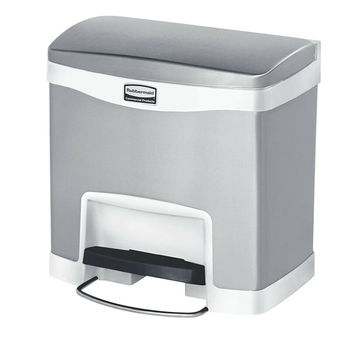 Rubbermaid Slim Jim 4 Gallon Stainless Steel Front Step On Wastebasket, White image