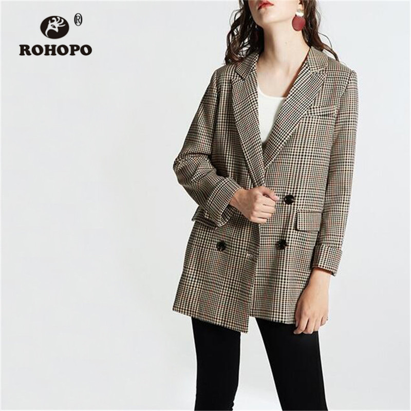 ROHOPO Woman Plaid Khaki Blazer Belted Notched Collar Double Buttons Chic Ladies Striped Outwear #1017