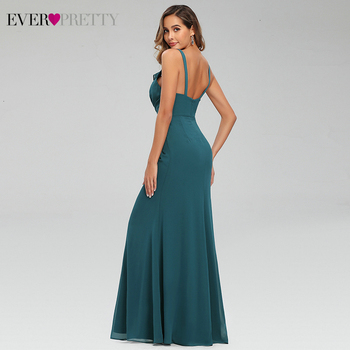 Sexy Teal Prom Dresses Ever Pretty Ruffles V-Neck Spaghetti Straps Ruched Simple Chiffon Mermaid Party Gowns Vestido Largo Gala 2