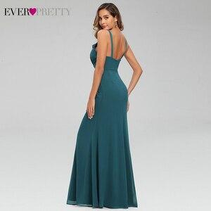 Image 2 - セクシーティールウェディングドレスこれまでにかわいいフリルvネックスパゲッティストラップシャーリングシンプルなシフォンマーメイドパーティードレスvestidoラルゴガラ