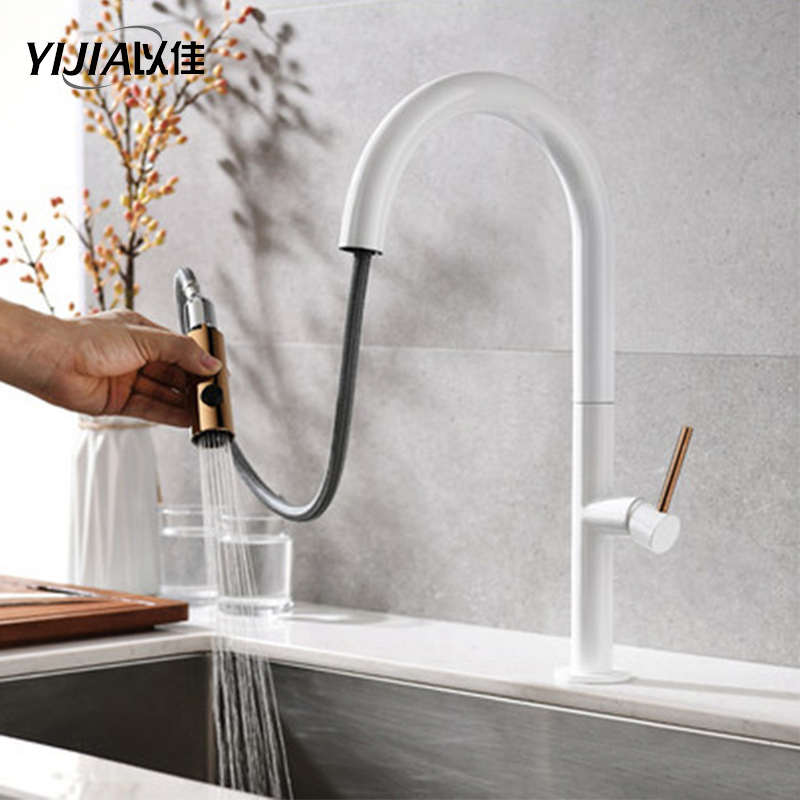 Black And White Stretchable Faucet Kitchen Hot And Cold Water Washing Dish Sink Rotating Faucet