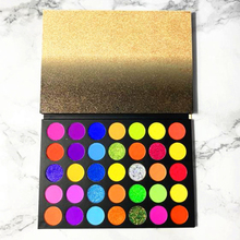 35 Colors Private Label Eye Shadow Palette Low MOQ Custom Professional High Pigmentation Glitter Nude Party Shiny  Eyeshadow