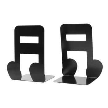 2 個音符金属ブックエンド鉄のサポートホルダーデスクスタンド書籍黒
