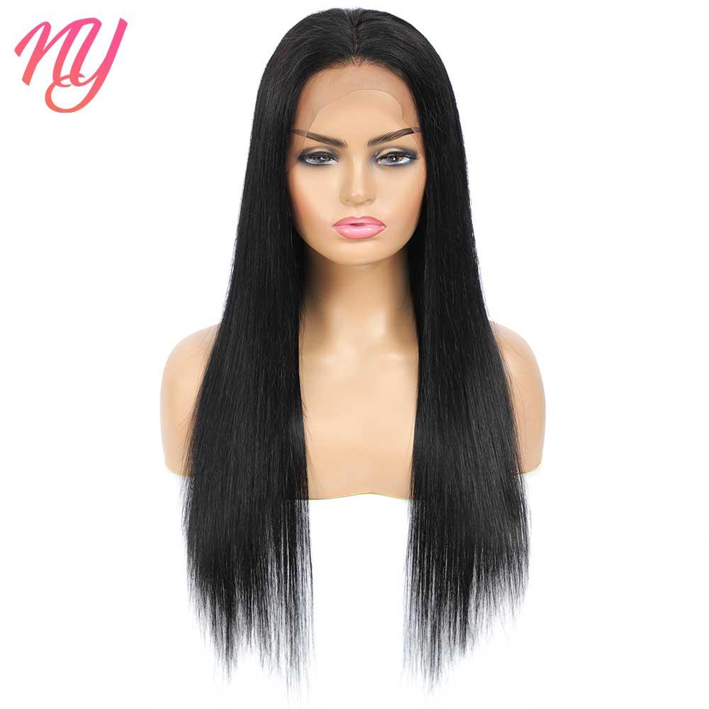 NY прямые черные 4x4 кружевные застежки 13x4 кружевные передние парики из человеческих волос 18 20 22 24 26 дюймов 180 плотность предварительно выщипа...