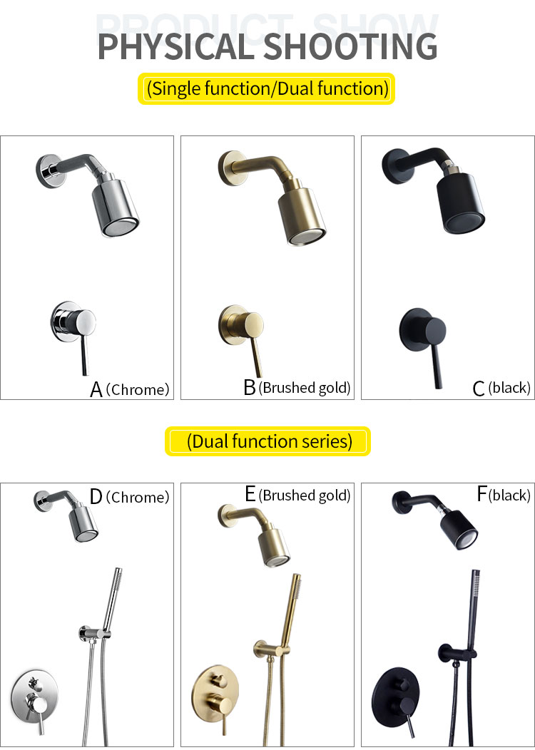 H0199f84095724780b2a11f9c544885dep Wall Mounted Bathroom Top Sprayer Brushed Gold Shower Faucet Set