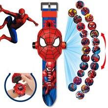 Disney dos desenhos animados crianças assistir 3d projeção homem de ferro dos desenhos animados spiderman congelado princesa relógio digital crianças relógios de brinquedo presentes