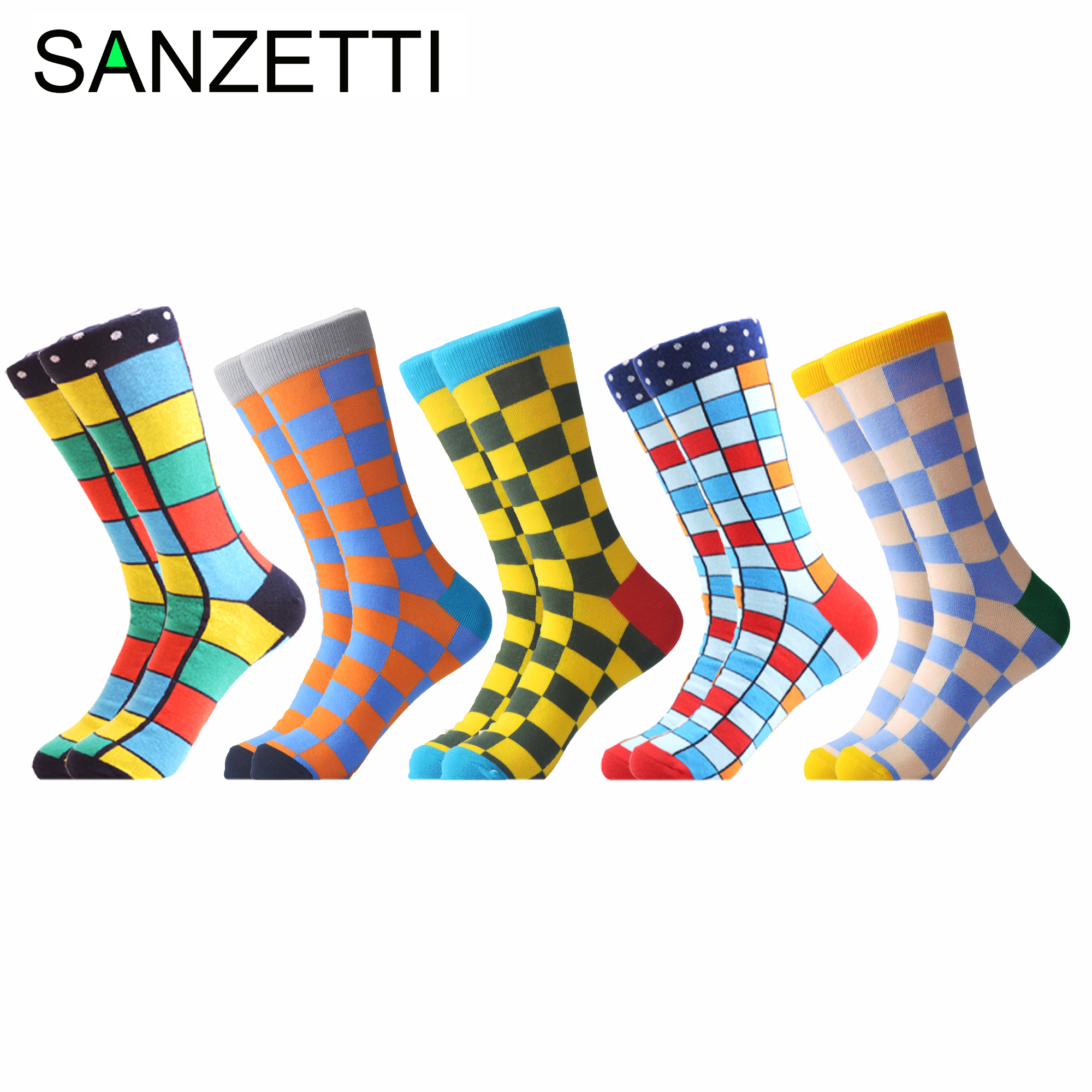 SANZETTI 5 Pairs/Lot Men's Casual Combed Cotton Happy Crew Socks Hip Hop Street Skate Boat Socks Gifts Creative Dress Socks