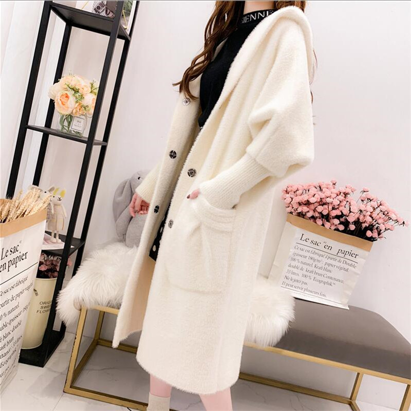 Imitation Mink Cashmere Coat Women Cardigan Knit 2019 Autumn Thick Loose Sweater Coat Hooded Casual Sweater Female