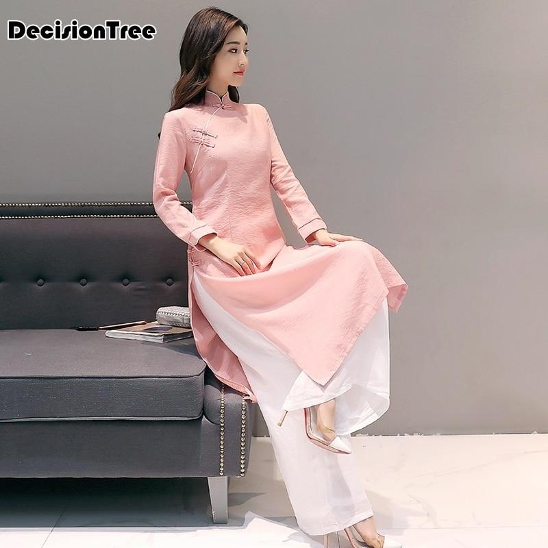 2020 Ao Dai Cheongsam Folk Style Vietnam Chiffon Aodai Graceful Stand Collar Elegant Women Chinese Traditional Dress Suit