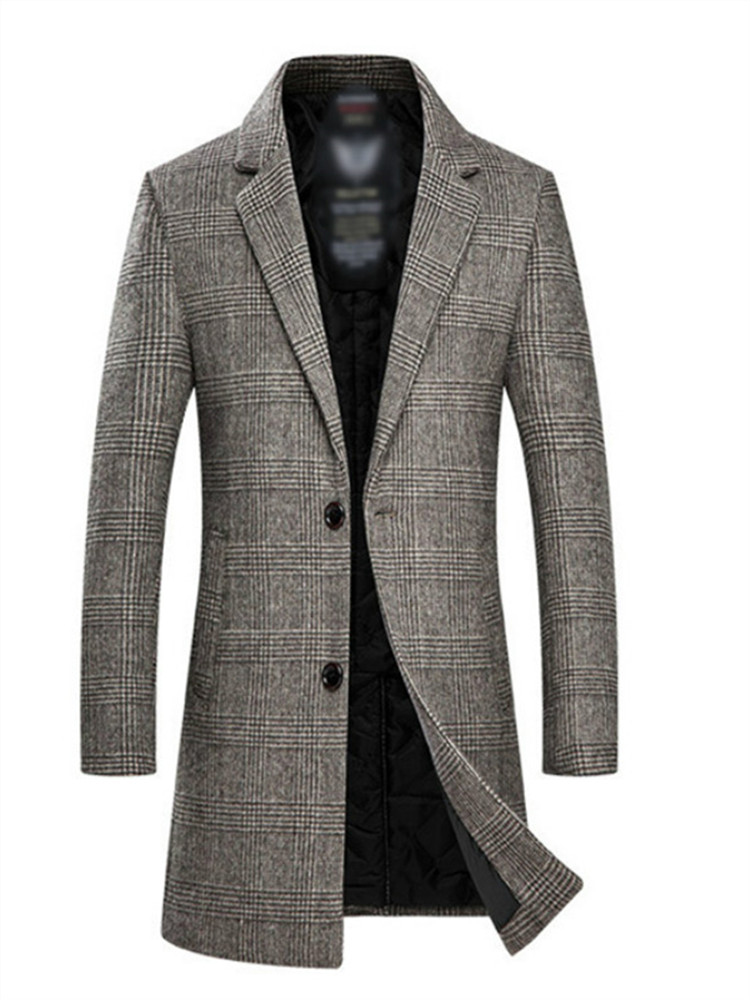 mens vogue long coat toggle cashmere loose slim parka casual outwear jackets Hot