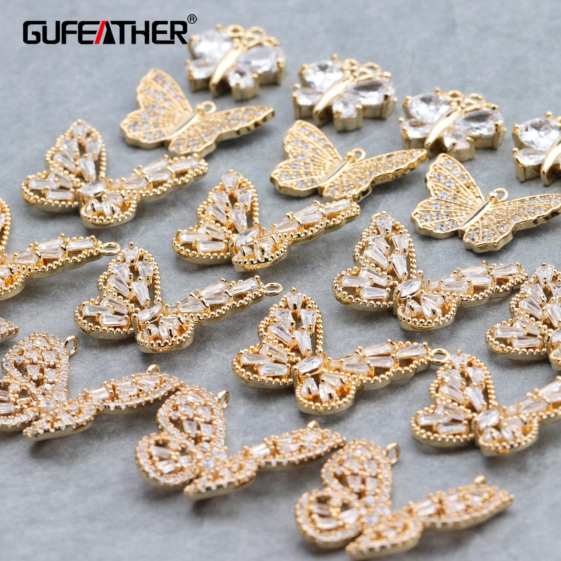 GUFEATHER M665,jewelry Accessories,18k Gold Plated,zircon Pendant,butterfly Shape,handmade,jewelry Making,diy Earrings,10pcs/lot