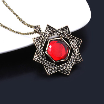 Game The Elder Scrolls 5 Skyrim Necklaces Amulet of Mara Arkay Morrowind Long Necklace Dark Brotherhood Red Crystal Pendant Gift image