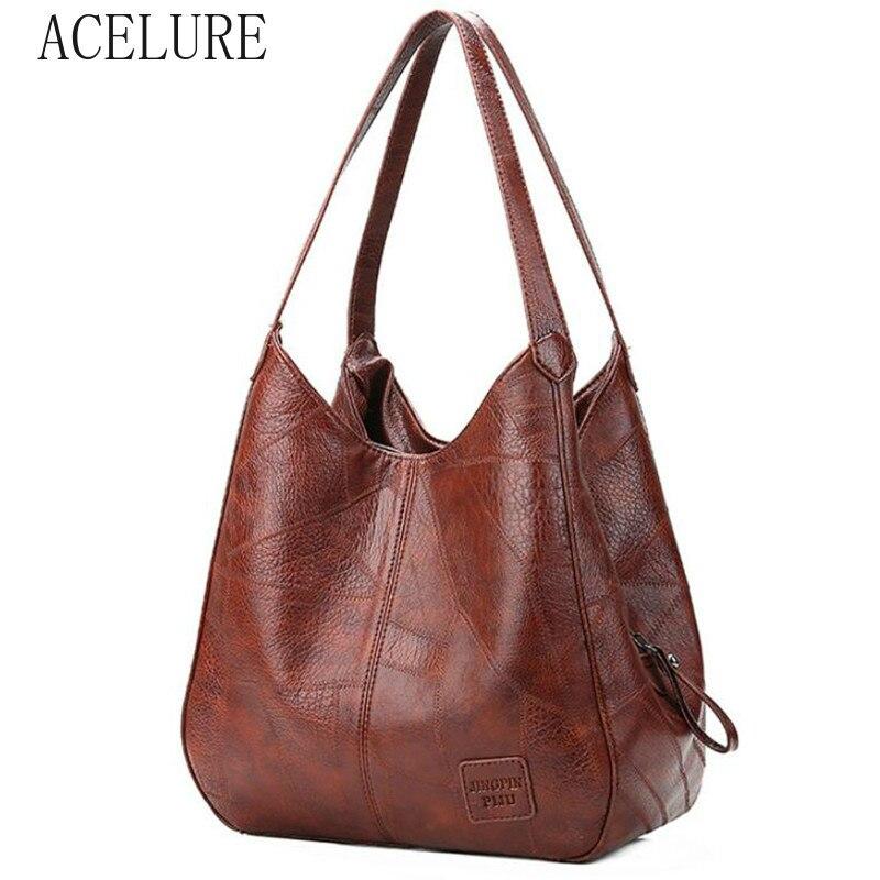 ACELURE  High Capcaity Soft PU Leather Vintage Women Hand Bag Totes Designers Luxury Women Shoulder Bags Female Top-handle Bags 2