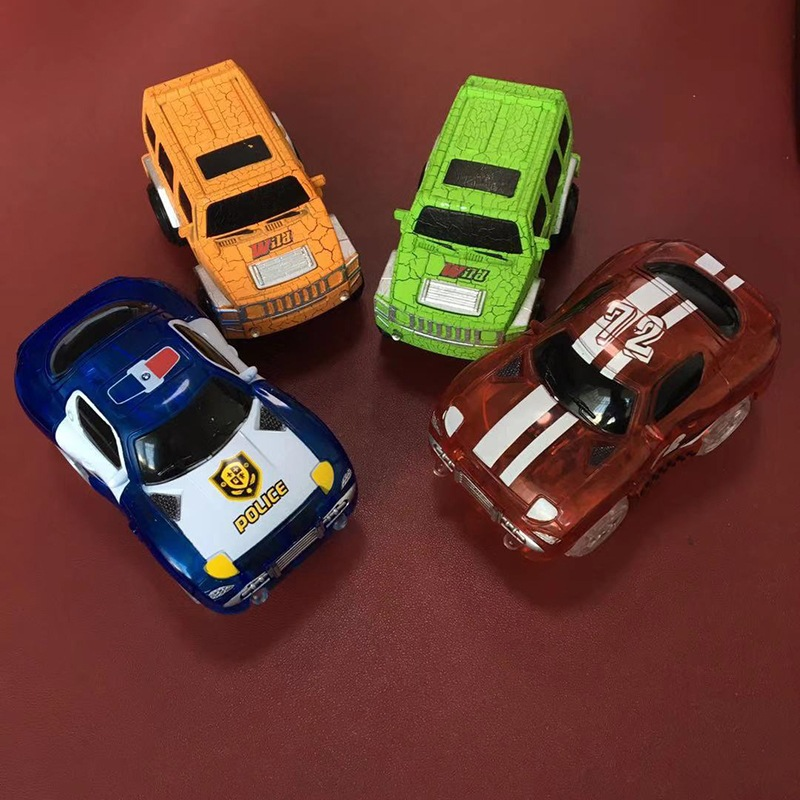 Transparent Night Light Electric Camera Track Toy Car 4 PCs LED Colorful Light Assembled Rail Accessories Race Car