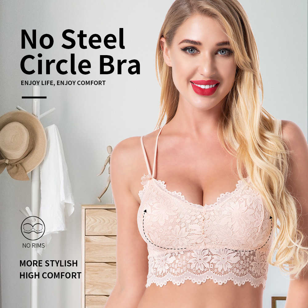 Áo Ngực Plus Kích Thước Áo Bra Phối Ren Quần Lót Nữ Không Đường May Áo Bralette Sexy BH Đầu Đẩy Lên Crop Top Vô Hình Áo Ngực Áo quần Lót Ren Soutien