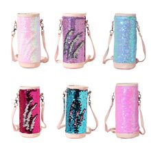 2020 Water Bottle Carrier Insulated Cover Bag Sequin Holder Shoulder Strap Pouch 9x23cm