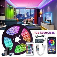 Rgb led tiras de luz fita flexível diodo smd quarto decoração luces lâmpada led string controle remoto wi fi compatível alexa