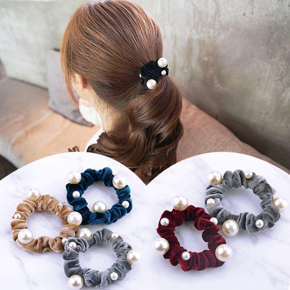 1PC Pearls Velvet Hair Scrunchies Hair Rope For Women Girls Ponytail Holder Elastic Hair Rubber Bands Headwear Hair Accessories