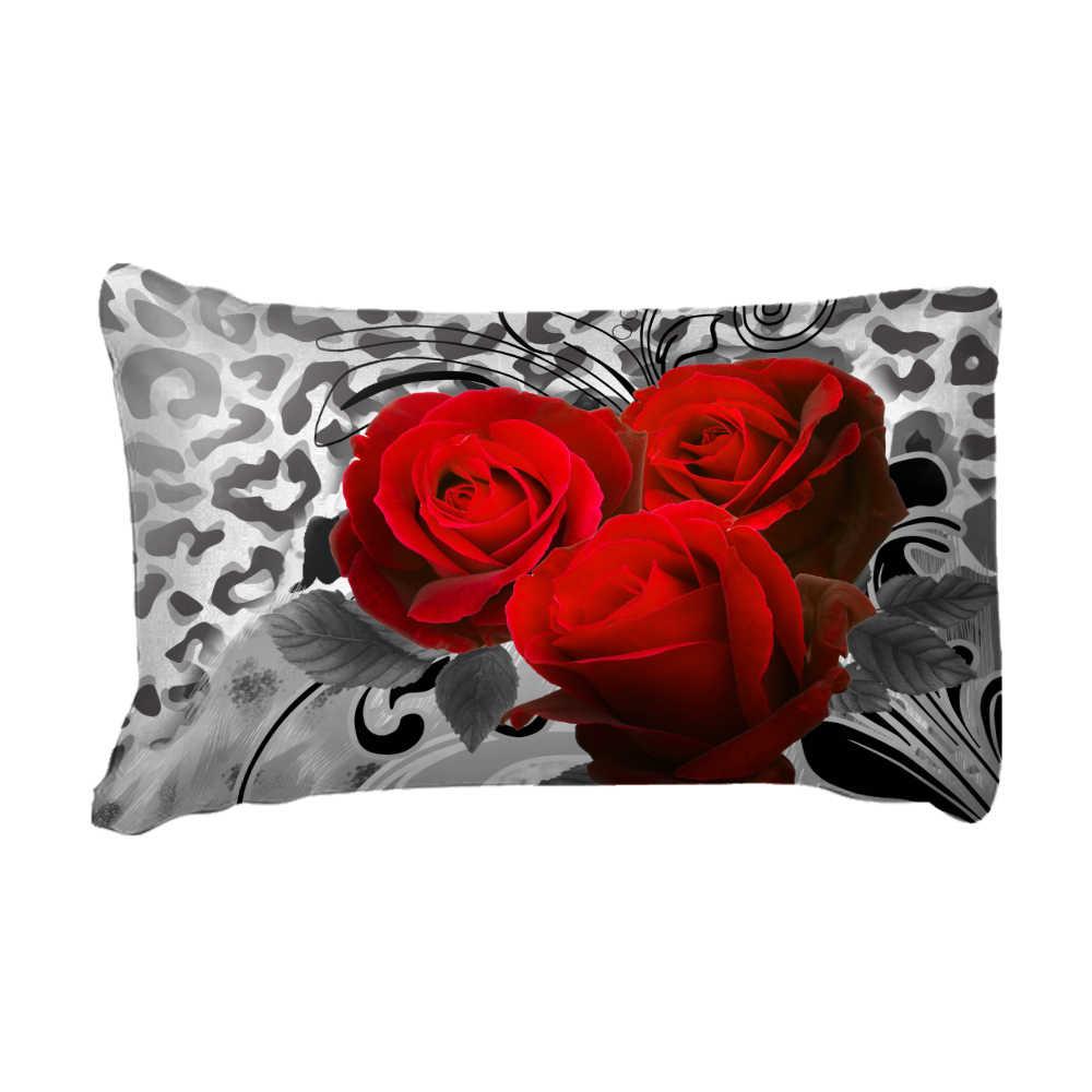 Red Rose ชุดเครื่องนอน 3D ผ้าคลุมเตียง TWIN Full Queen King Size ชุดเครื่องนอนสิ่งทอหน้าแรก