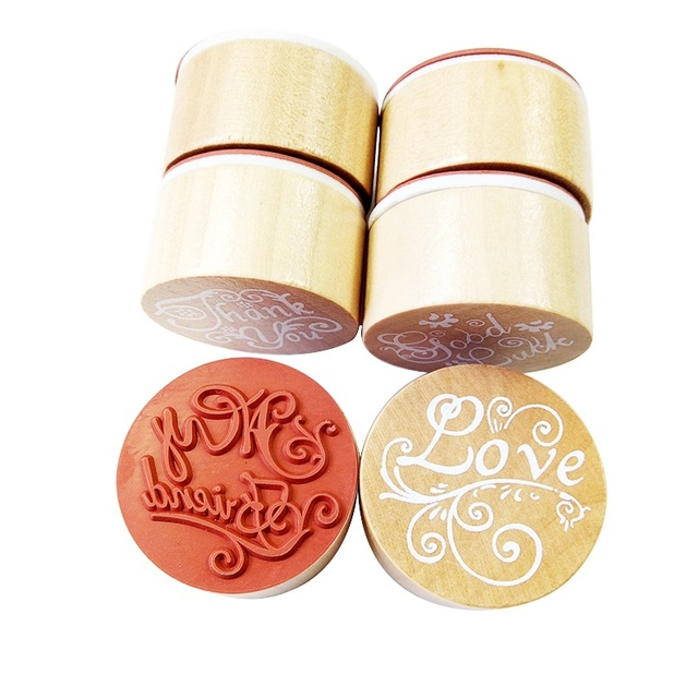 1pc/lot Love Thank You Wishes Vintage Round Wooden Stamps For DIY Scrapbooking Photo Album Decoration Label Embossing Craft