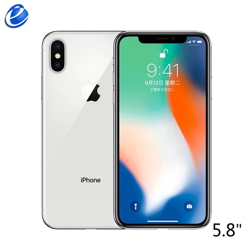 Оригинальный телефон Apple iPhone X, 5,8-дюймовый экран, десять ядер, iOS A11, 3 ГБ ОЗУ 64 ГБ/256 ГБ ПЗУ, двойная задняя камера 12 Мп, 4G LTE, распознавание лица, р...