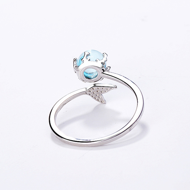 925 Silver Sterling Hand Made MerMaid Foam Opening Size Adjustable Female Style Simple Fashion Fishtail Ring Accessories 4
