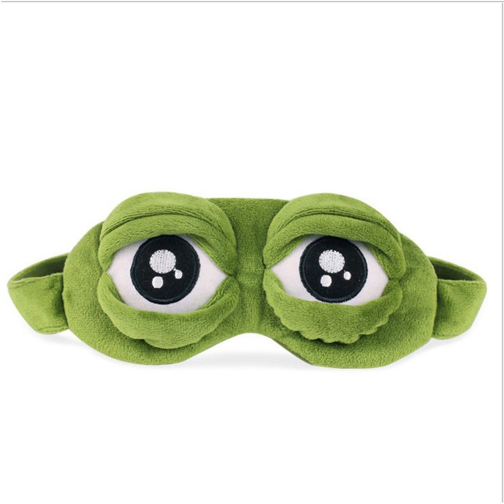 Funny Creative Pepe The Frog Sad Frog 3D Eye Mask Cover Sleeping Rest Cartoon Plush Sleeping Mask Cute Anime Gift