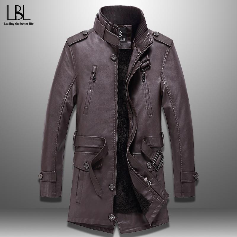 Casual Men's Windbreakers PU Leather Men's Long Jacket Winter Autumn Outwear Mens Coat  New Fashion Trench Male Fleece Top 2019