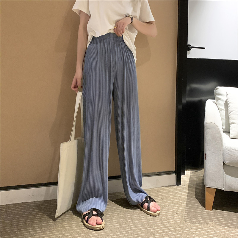 Summer Cool High Waist Loose Wide Leg Pants Female Pleated Slim Thin Vacation Casual Solid Straight Floor Pants Women Spring