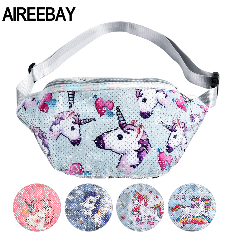 AIREEBAY Sequins Printing Unicorn Waist Bag For Women Fashion Fanny Pack Girls Shoulder Belt Bags Kids Waist Packs Cartoon Phone