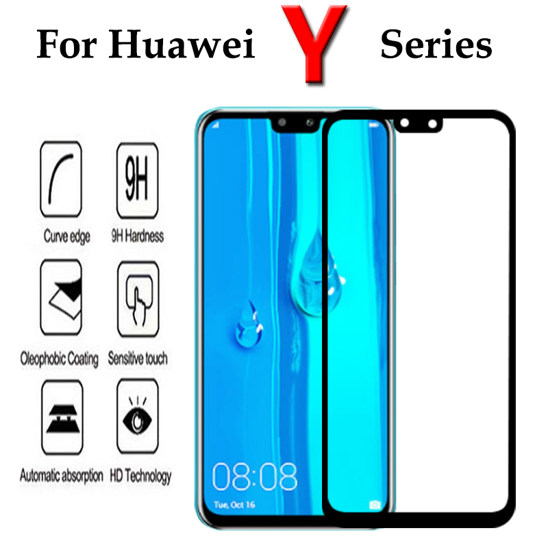 Screen Protector For Huawei Y6 Y9 Prime 2019 Y5 Y9 Y7 2019 2018 Y6 Prime 2018 Tempered Glass Full Cover Protective Glass Film 9H