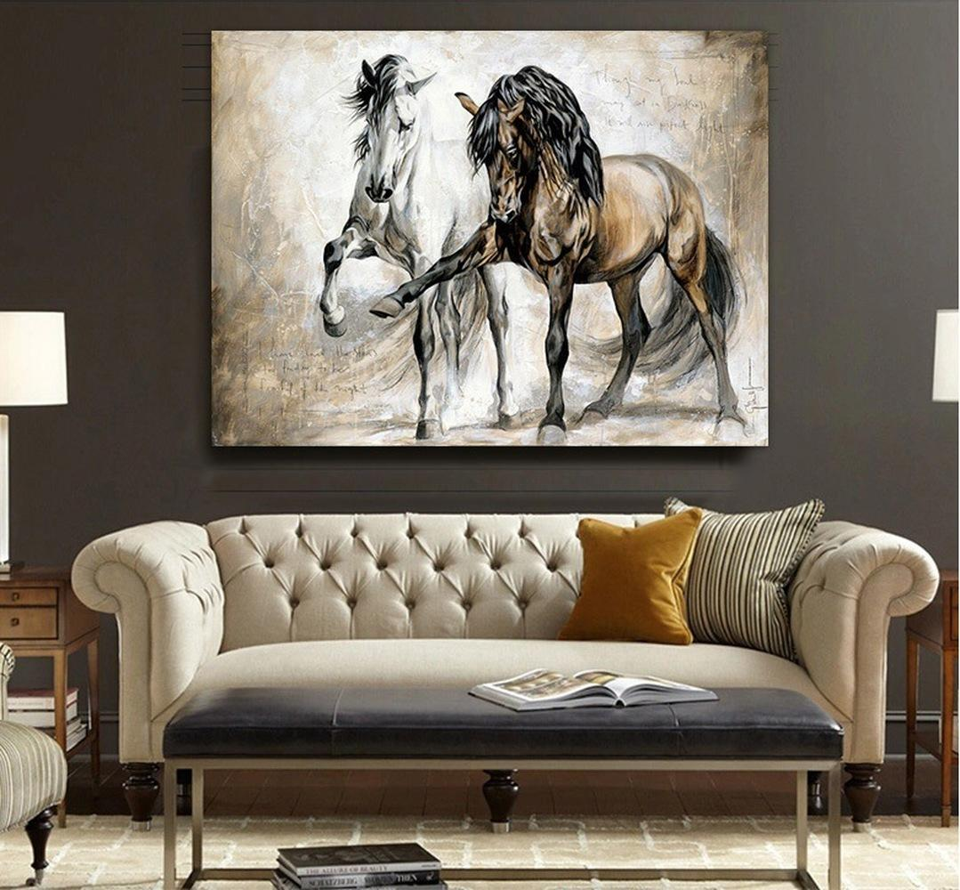 31  Retro Horse Abstract Oil Canvas Wall Art Painting Pictures Hanging Picture Art Painting Living Room Home Decor(No Frame)