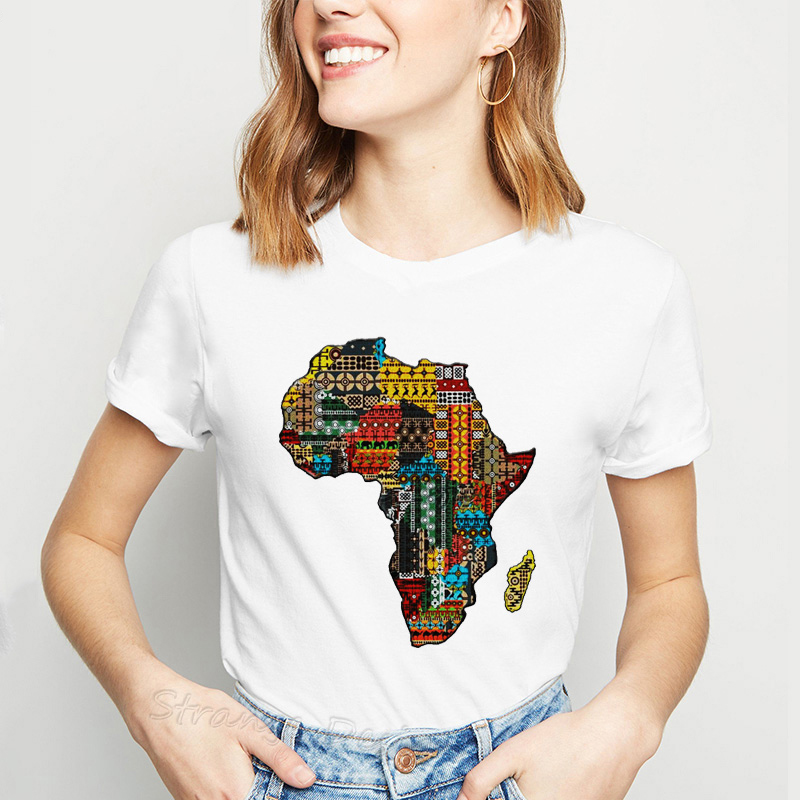 Africa Map Graphic T Shirt For Women Harajuku African Heritage Female T-shirts Afro Word Print White Tshirt Tumblr Clothes Tops