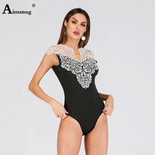Aimsnug Solid Black Stitching Lace Hook Flower Hollow Lady Playsuits Sleeveless V Neck Autumn New High Street Women Bodysuits